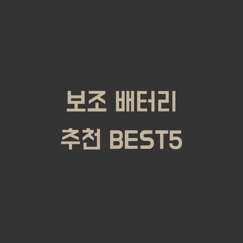 보조 배터리 추천 BEST5